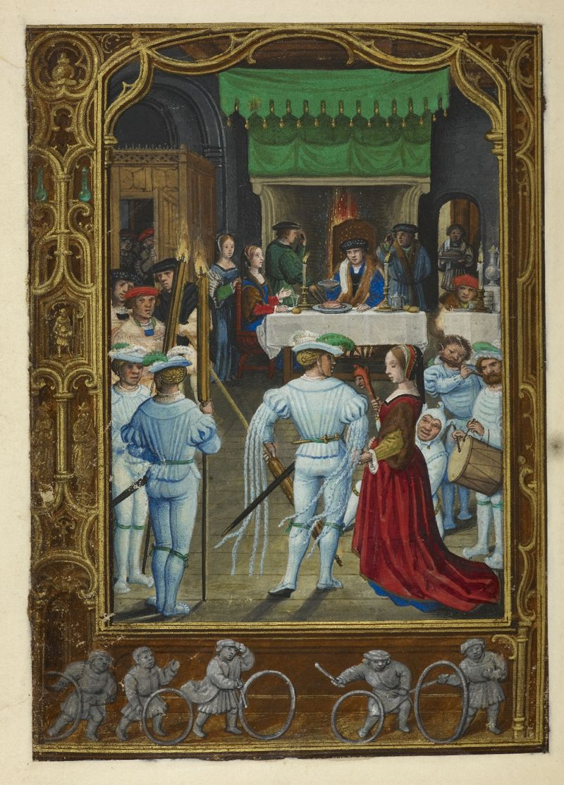 Calendar page for February with a feasting scene, from the Golf Book (Book of Hours, Use of Rome), workshop of Simon Bening, Netherlands (Bruges), c. 1540, Additional MS 24098, f. 19v
