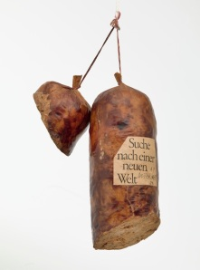 "Dieter Roth, ""Literature Sausage (Literaturwurst),"" 1969, published 1961-70. Artist's book of ground copy of Suche nach einer Neuen Welt by Robert F. Kennedy. Gelatin, lard, and spices in natural casing. Overall (approx.) 12 x 6 11/16 x 3 9/16 in. The Museum of Modern Art, New York. The Print Associates Fund in honor of Deborah Wye."