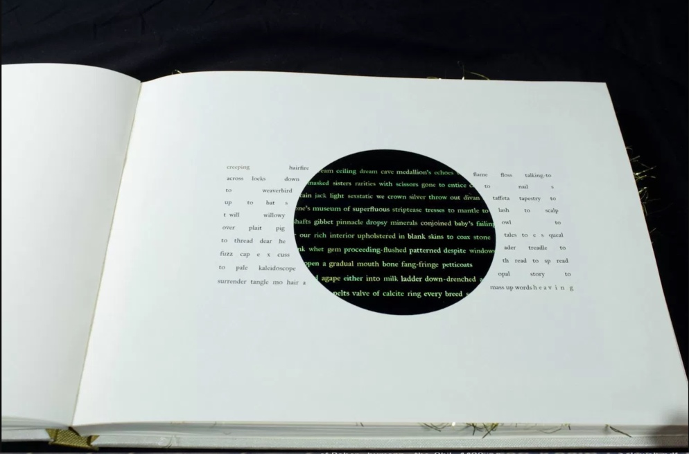 Readers can begin to interact with the iPad, on which the book's text is mutating on its own.