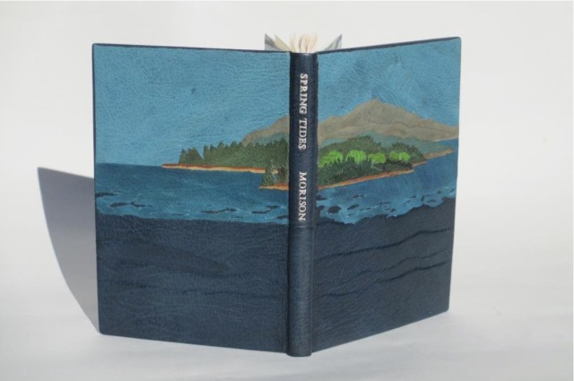 Spring Tides by Samuel Eliot Morison Boston: Houghton-Mifflin Co., 1965. Julia B. Stackpole, Design binding  21.8 x1 5.0 x 1.6 cm  January 2014