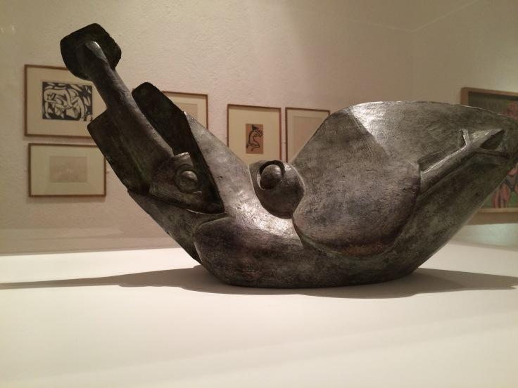 Bird Swallowing a Fish, 1913-14 Henri Gaudier-Brzeska Kettle's Yard exhibition, 2015