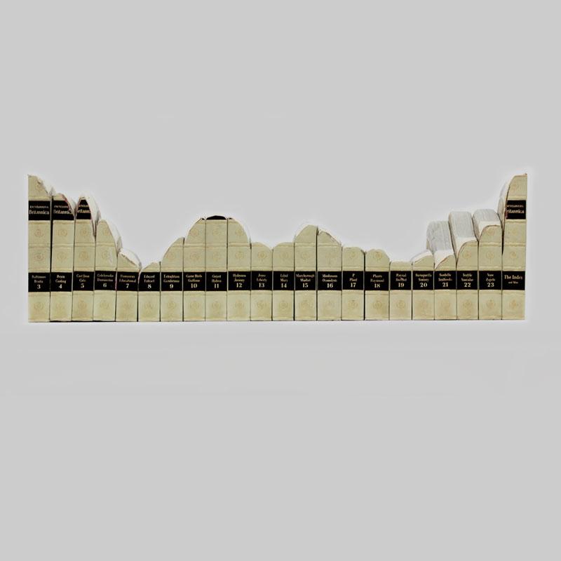 """1962"", 2012 Sanded work  Found encyclopaedia 28cm x 92cm x 13cm"