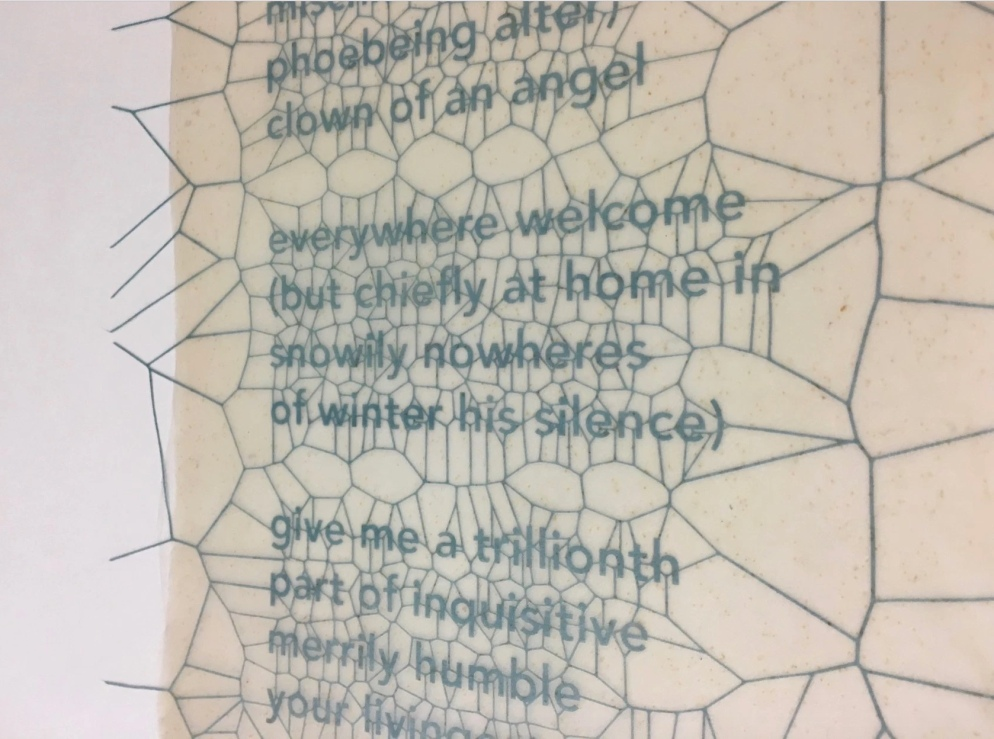 Specimens, 2016 Close-up of finished pressed page. Laser cut text pressed within 5 layers of bio-paper to form one large single sheet. © Eric Gjerde