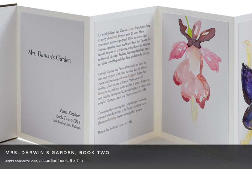 Vesna Kittelson, Mrs. Darwin's Garden, Book Two, 2014 Accordion book, 9 x 7 in