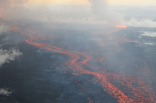 The Holuhraun lava field, on 4 September 2014, during the 2014 eruption