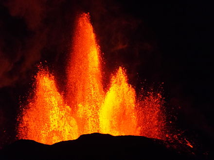 Lava fountains of the fissure eruption in Holuhraun on 13th September 2014 around 21:20.